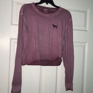 Long sleeve Pink Brand T-shirt cropped